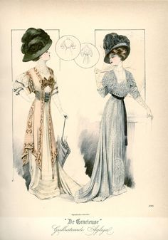 Dresses, 1908 the Netherlands, De Gracieuse.  Marvelous hats!