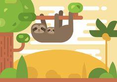 Cute Illustration of cartoon Sloths animal on the trees