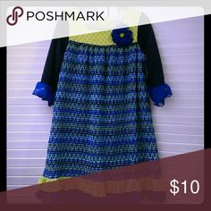 Beautiful Fall Dress Knit/patterned fall dress with slip beautiful blues and greens. With pacey, flared 3/4 sleeves Rare Editions Dresses Casual