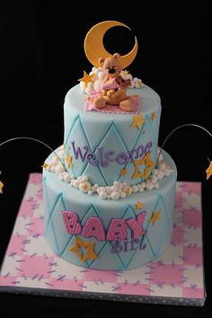 Baby Shower cake~                     by Andrea's SweetCakes, via Flickr, blue, pink, Brown teddy bear, stars, 2 tier round