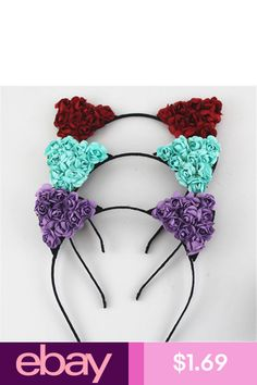 422698c702bd4 Floral Cat Ears Headband Party Costume Head Hair Band Hair Accessories  Fashion in Clothing