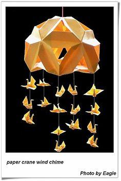 Paper crane wind chime