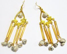 Handcrafted  Gold Plated  Pierced Earrings   Wind by ChelleStore, $10.00