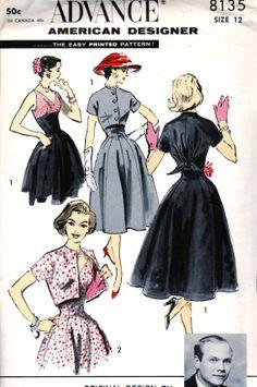 Vintage 50's ADVANCE Original Pattern 8135 -  FABULOUS Caraco Jacket and Empire Dress - UNCUT - bust 32 By American Designer