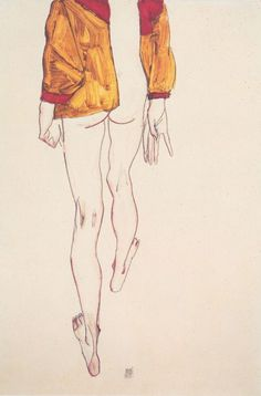 Egon Schiele, 1913 Model walking away down a hallway.  Big bomber jacket maybe wearing a skirt?