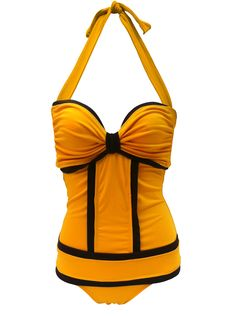 Panelled One Piece Swimsuit With Contrast Piping for Form Forming. $57.00, via Etsy.