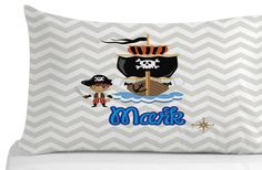 Personalized, pillow case, Pirate- bedroom decor- nursery decor-white by on Etsy Pirate Bedroom Decor, Personalized Pillow Cases, Nursery Decor, Pirates, Quilts, Pillows, Trending Outfits, Handmade Gifts, Etsy