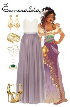 """Esmeralda Inspired Prom Outfit"" by pie-epic ❤ liked on Polyvore featuring Rime Arodaky, Needle & Thread, Jose & Maria Barrera, Belk & Co., Mondevio and Giuseppe Zanotti"