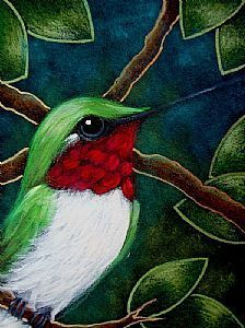 Detail Image for art TINY RUBY HUMMINGBIRD IN MY GARDEN
