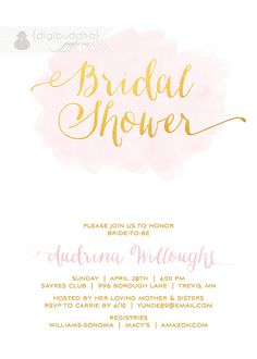 Pink & Gold Bridal Shower Invitation Pink by digibuddhaPaperie