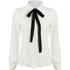 e3a8344b9751b SheIn(sheinside) White Tie-neck Long Sleeve Slim Blouse SEK) ❤ liked on…