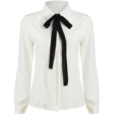 SheIn(sheinside) White Tie-neck Long Sleeve Slim Blouse (135 SEK) ❤ liked on Polyvore featuring tops, blouses, shirts, white, white collar shirt, long sleeve tie neck blouse, slim fit white shirt, polyester shirt and long sleeve tops