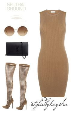 """""""NEUTRAL"""" by styledbykaysha on Polyvore featuring Privileged, A.L.C., Yves Saint Laurent and Victoria Beckham"""