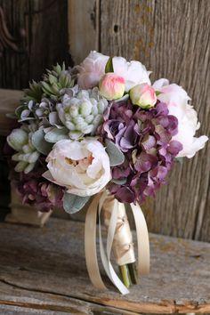Blush Peonies Hydrangea & Succulents by FloralDesignsbyTrish