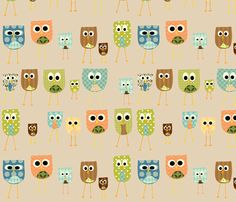 multi_owls_-_white_background fabric by petunias for sale on Spoonflower - custom fabric, wallpaper and wall decals Owl Patterns, Pretty Patterns, Textures Patterns, Fabric Patterns, Owl Background, Background Patterns, Owl Parties, Whimsical Owl, Owl Fabric