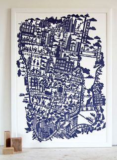 NYC print - silouette style map by Famille Summerbelle