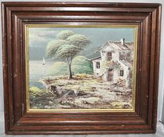 Framed Signed Oil Painting on Canvas of a House by the Lake