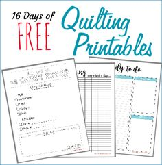 16 Free Planner Pages – PATCHWORK POSSE SHOP