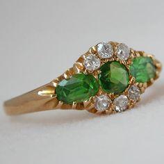 Victorian demantoid garnet and diamond ring