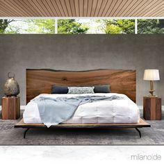 Live edge walnut bed with industrial metal legs Bed Back Design, Walnut Bedroom, Dynamic Design, Walnut Veneer, Furniture Collection, King Size, Beds, Minimalism, Industrial Metal