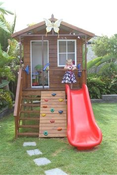 You can turn your backyard into a magical space where your children can enjoy plenty of fun activities. [Wooden Playhouse, Playhouse With Climbing Wall, Playhouse With Slide, Playhouse With Deck, Play Backyard Playhouse, Build A Playhouse, Backyard Playground, Backyard For Kids, Playground Ideas, Playhouse Ideas, Modern Backyard, Garden Kids, Backyard Landscaping