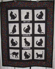 Cat Quilt - One of my first applique quilts completed for my sister who has a black cat.