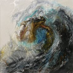 Artist Lia Melia creates strikingly energetic paintings where curling and crashing ocean waves splash and splatter across the canvas.