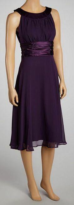 Dark Eggplant Ruched Dress