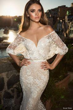 julie vino fall 2017 bridal half sleeves v neck full embellishment elegant romantic lace sheath wedding dress low back chapel train (1214) zv