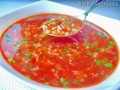 Tomato soup with rice Vegan Recipes, Cooking Recipes, Vegan Food, Romanian Food, Tomato Soup, Salsa, Recipies, Deserts, Food And Drink
