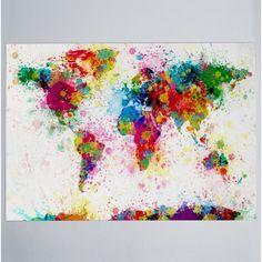 Michael Tompsett 'Paint Splashes World Map' Canvas Wall Art Wrapped Canvas Art), Trademark Fine Art World Map Painting, World Map Art, World Map Canvas, Painting Prints, Art Prints, Canvas Paintings, Painting Abstract, Cool World Map, Drip Painting