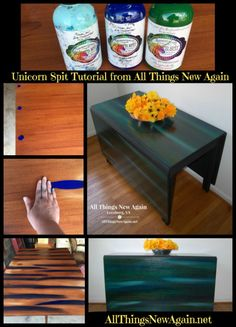 A step-by-step tutorial from All Things New Again showing you how to create a beautiful side-by-side look with Unicorn Spit rainbow gel stain and glaze. www.AllThingsNewAgain.net