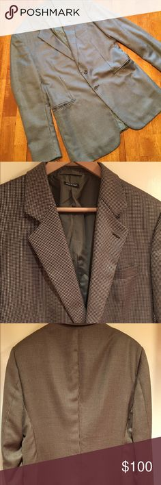 "EUC! Giorgio Armani Made in Italy Silk/Wool Jacket EUC Purchased at Barney's 55% Silk 45% Pure New Wool EU size is 52 which converts to 42. 25"" from top of the shoulder to cuff. Shoulder to shoulder 18"". Length 31.5"" Bronze/Black Houndstooth Giorgio Armani Suits & Blazers Sport Coats & Blazers"