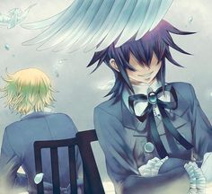Tags: SQUARE ENIX, Chair, Pandora Hearts, Crossed Arms, Mochizuki Jun, White Feather