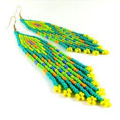 Hippie earrings Ethnic earrings Turquoise earrings Seed by Galiga