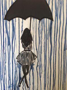 Regn i Paris - Akryl på canvas