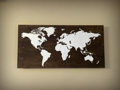 Rustic Wood World Map, Wooden Map of the World, Handpainted Wood Map, Rustic Nursery Decor, Rustic Home Decor, Travel Gift by BrushLightGold on Etsy https://www.etsy.com/listing/220964143/rustic-wood-world-map-wooden-map-of-the