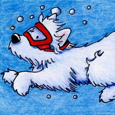Framed Original Art Westie Terrier Dog ACEO by KiniArt on Etsy, (SOLD. Prints available at Fine Art America)