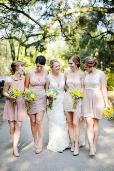 mixed match bridesmaids... what would it look like with my 4 girls but with grey dresses