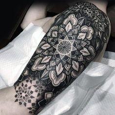 Black and Grey Half Sleeve Tattoo - Best Half Sleeve Tattoos For Men: Cool Half Sleeve Tattoo Ideas, Badass Sleeve Tattoo Designs For Guys Cool Shoulder Tattoos, Half Sleeve Tattoos For Guys, Half Sleeve Tattoos Designs, Mens Shoulder Tattoo, Best Sleeve Tattoos, Best Tattoo Designs, Geometric Tattoo Half Sleeve, Tatto Sleeve, Mandala Tattoo Design