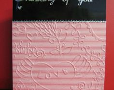 Thinking of You Card with apricot embossed paper