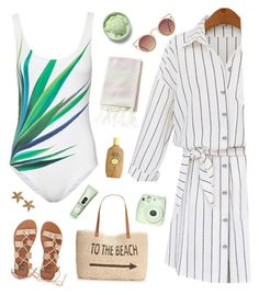 """""""One piece swimsuit"""" by genesis129 ❤ liked on Polyvore featuring Billabong, Style & Co., Quay, ONIA, Sun Bum, Fuji and Clinique"""
