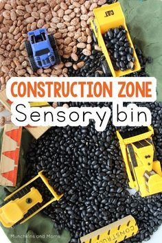 Zone Play This construction zone sensory bin is great for kids who love all things tractor!This construction zone sensory bin is great for kids who love all things tractor! Sensory Tubs, Sensory Activities, Sensory Play, Learning Activities, Preschool Activities, Sensory Diet, Indoor Activities, Summer Activities, Family Activities