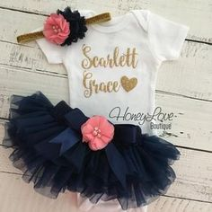PERSONALIZED gold glitter bodysuit coral pink and navy blue embellished flower tutu skirt bloomer newborn toddler baby girl take home outfit coming home hospital outfit welcome hello world by HoneyLove Boutique