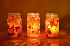 A neat idea for a preschool craft! Go for a fall walk and collect leaves. Mod-podge to mason jars. Use battery operated candle inside jars. Tie fall ribbon around mouth of jar. Fall Crafts, Holiday Crafts, Arts And Crafts, Mason Jar Crafts, Mason Jars, Candle Jars, Candle Holders, Glass Jars, Jam Jar Candles