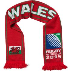 Wales - Rugby WC 2015 Scarf Ideal Gift for all Rugby Fans Scarf Dimensions x approx Brand New with Tags - Header Card Official Licensed Irb Rugby, Wales Rugby, Rugby World Cup, Header, Fans, Brand New, Gift, Shopping, Fashion