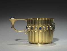 Miniature Cup, before 1896 - firm of Peter Carl Fabergé (Russian, fabricated by Mikhail Evlampievich Perkhin (Russian, - gold, diamonds and sapphires Faberge Jewelry, Russian Jewelry, Cleveland Museum Of Art, Faberge Eggs, Russian Art, Porcelain Ceramics, Cup And Saucer, Art Nouveau, Metal