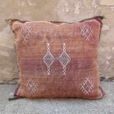 'Burnt Toast' Moroccan Sabra Silk Pillow