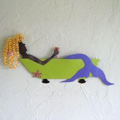 Mermaid wall art decor - Anna - bathtub starfish wine blonde handmade repurposed metal sculpture coastal beach cottage bathroom on Etsy, $145.00