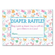 Under The Sea Diaper Raffle Tickets Large Business Cards (Pack Of Baby Sprinkle Games, Baby Sprinkle Invitations, Custom Baby Shower Invitations, Sprinkle Shower, Pack Of Diapers, Diaper Raffle Tickets, Baby Shower Fun, For Your Party, Paper Texture